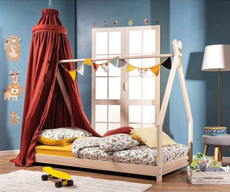 picci collezione junior letto montessori per bambini con tenda